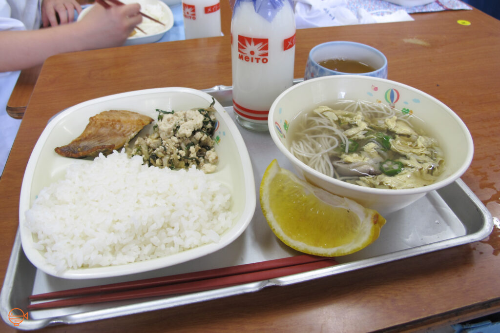A serving of rice, a piece of fish, and a side salad with tofu, brown seaweed and quinoa. To the right is a bowl of thin somen noodles in soup with egg, okra and mushroom. Also on the tray is a slice of orange, a cup of hot hojicha tea and a bottle of cold milk.