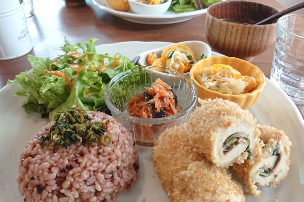One of the vegan restaurants in Tokyo, Cafe Bask, has this Gohan Plate, a set meal of rice, salad, main dish, side dish, all on one plate, plus a daily soup. Photo by author, Kaori S.