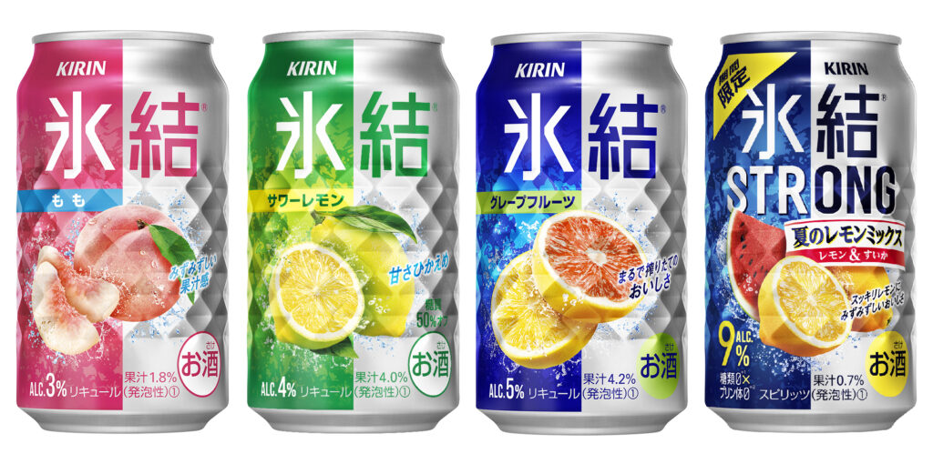 """Four cans of Kirin's """"Hyoketsu"""" chuhai brand lined up in a row. The first is peach-flavored in a pink and silver can, and contains 3% alcohol. The 2nd is sour lemon-flavored and is in a green and silver can with 4% alcohol. The 3rd is grapefruit-flavored in a royal blue and silver can with 5% alcohol, and the 4th is from Kirin's 'Strong' chuhai range and is lemon and watermelon-flavored in a dark blue and silver can with 9% alcohol content."""