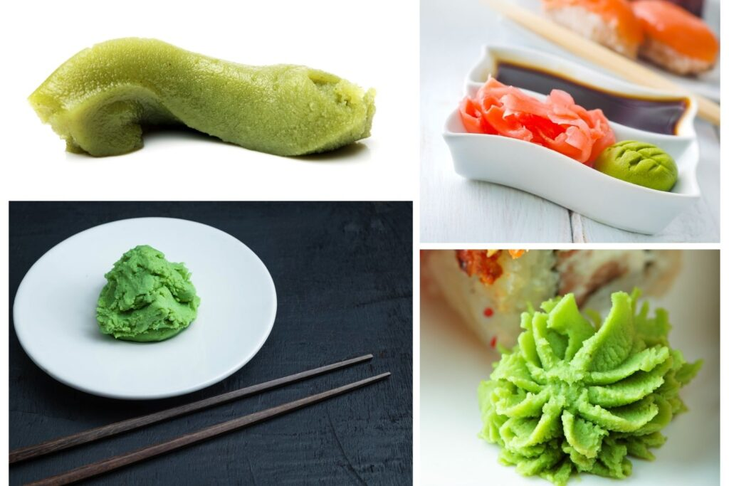 A collage of four different examples of fake wasabi. The top left image looks like green toothpaste squeezed from a tube. The top right shows sushi in the background and a condiment tray in the foreground with soy sauce, picked ginger and a compressed ball of fake wasabi with the lines of a leaf etched into it. The bottom left image shows a large ball of wasabi with a very bright fake green color sitting on a white plate on a black counter top, along with dark brown wooden chopsticks in the foreground. The bottom right image shows a lime green-colored paste that has been added to a plate of sushi with a piping bag to resemble a floret.