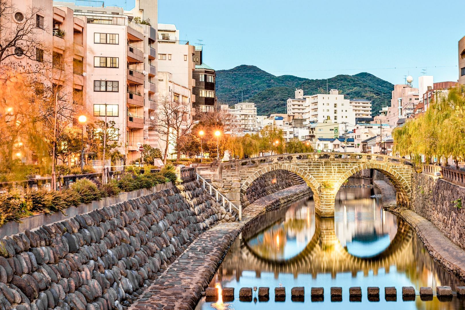 What to Eat in Nagasaki: Meganebashi, Nagasaki's famous landmark bridge with two rounded arches that when reflected in the river below look like a pair of glasses.